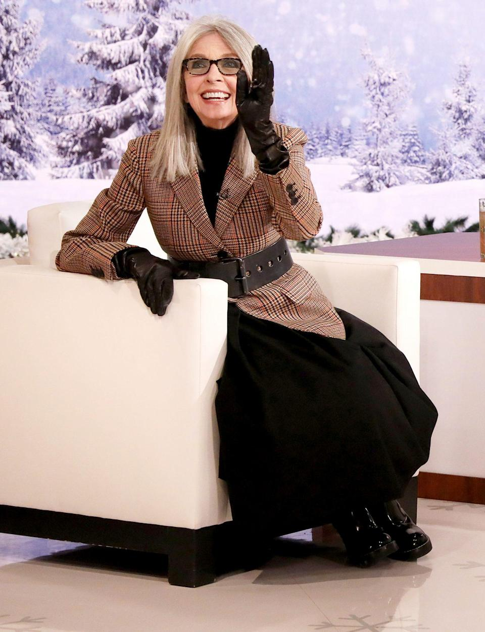 <p>Diane Keaton plays to the crowd as she helps host Ellen Degeneres spread holiday joy during <em>The Ellen Degeneres Show</em>'s 12 Days of Giveaways on Thursday's taping in Burbank, California.</p>