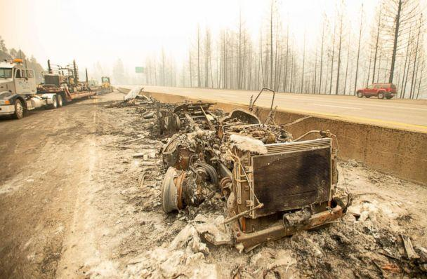 PHOTO: A burned out truck sits along Interstate 5 during the Delta Fire near Delta, Calif. in the Shasta Trinity National Forest on Sept. 6, 2018.  (Josh Edelson/AFP/Getty Images)