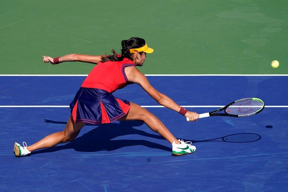 Emma Raducanu faces Shelby Rogers for a place in the quarter-finals of the US Open (Seth Wenig/PA) (AP)