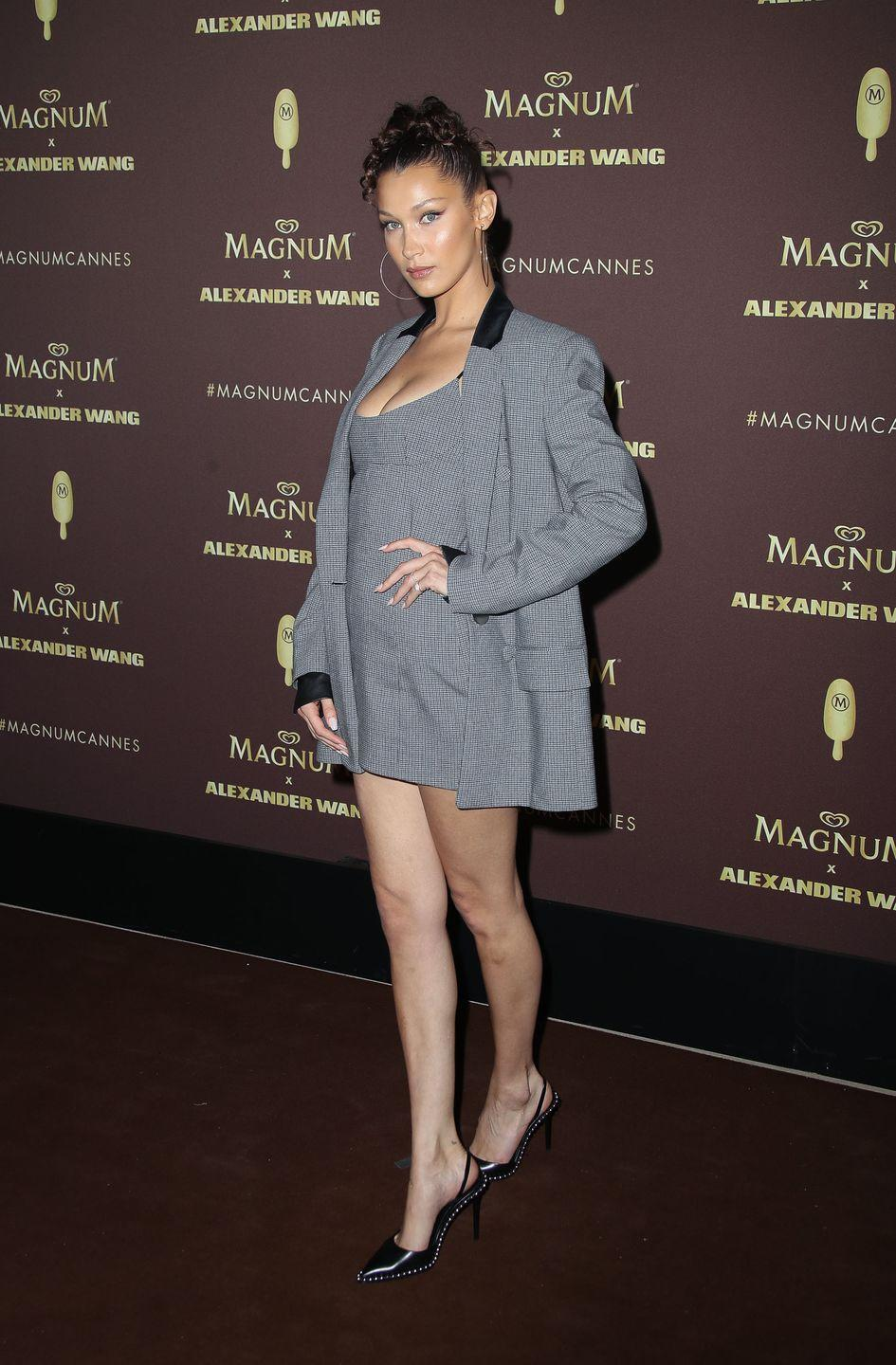 <p>The model showed off her best Clueless-inspired fashion credentials at a Magnum x Alexander Wang party in Cannes, May 2018. </p>
