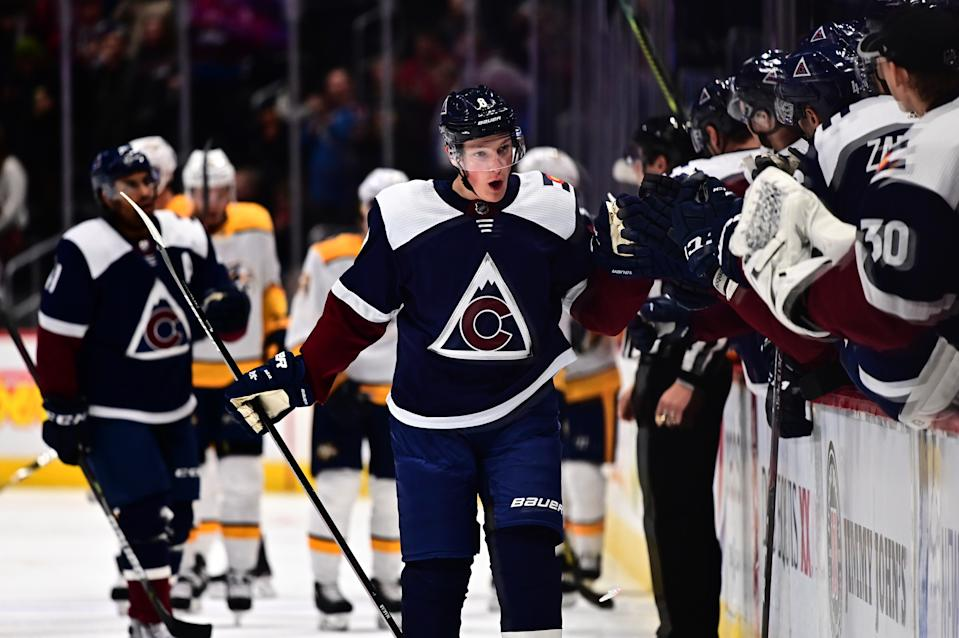 Nov 7, 2019; Denver, CO, USA; Colorado Avalanche defenseman Cale Makar (8) celebrates after scoring a goal in the first period against the Nashville Predators at the Pepsi Center. Mandatory Credit: Ron Chenoy-USA TODAY Sports