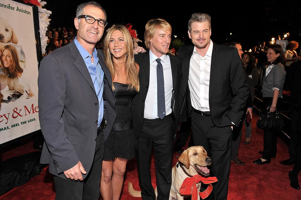 """Director <a href=""""http://movies.yahoo.com/movie/contributor/1800145510"""">David Frankel</a>, <a href=""""http://movies.yahoo.com/movie/contributor/1800021397"""">Jennifer Aniston</a>, <a href=""""http://movies.yahoo.com/movie/contributor/1800019255"""">Owen Wilson</a> and <a href=""""http://movies.yahoo.com/movie/contributor/1802866800"""">Eric Dane</a> at the Los Angeles premiere of <a href=""""http://movies.yahoo.com/movie/1809995057/info"""">Marley & Me</a> - 12/11/2008"""