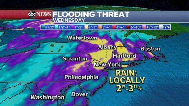 PHOTO: Locally more than 3 inches of rain could fall in the Northeast in a short period of time on Wednesday afternoon and evening. (ABC News)