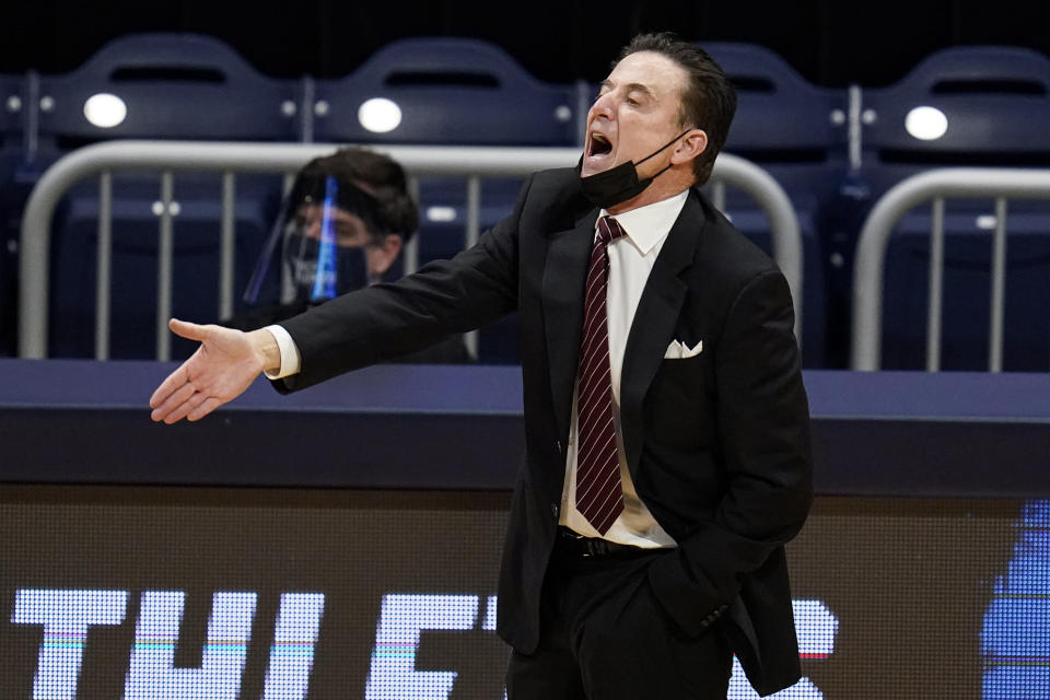Iona head coach Rick Pitino gestures as his team plays against Alabama in the first half of a first-round game in the NCAA men's college basketball tournament at Hinkle Fieldhouse in Indianapolis, Saturday, March 20, 2021. (AP Photo/Michael Conroy)