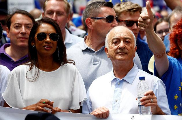 Anti-Brexit campaigner Gina Miller and actor Tony Robinson joined the march.