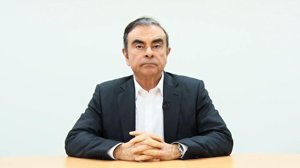 TOKYO, JAPAN - APRIL 09: A screen grab from a video provided by Hironaka Law Office, shows Nissan's former chairman Carlos Ghosn, speaking before he was re-arrested in Tokyo, Japan. Ghosn, a veteran of the auto industry, was re-arrested in Tokyo last week on fresh allegations of financial misconduct as shareholders of Nissan voted on Monday to remove the company's former boss from its board. (Photo by Hironaka Law Office via Getty Images)