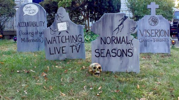 PHOTO: The art teacher's gravestones paid homage to normal seasons and watching live tv. (Michael Fry)