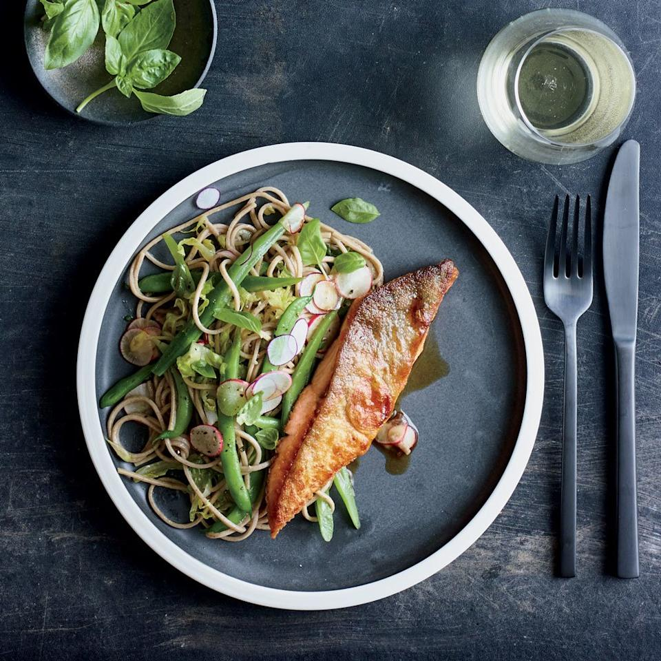"<p>For when your body needs a break from turkey and pie, make chef <a href=""https://www.foodandwine.com/contributors/sohui-kim"" target=""_blank"">Sohui Kim</a>'s crispy arctic char, served with soba noodle salad.</p> <p> <a href=""https://www.foodandwine.com/recipes/arctic-char-soba-and-green-beans"">Go to recipe</a></p>"