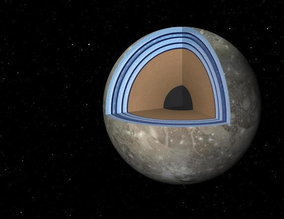 "This artist's concept of Jupiter's moon Ganymede, the largest moon in the solar system, illustrates the ""club sandwich"" model of its interior oceans. Image released May 1, 2014."