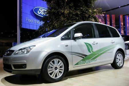 The new Ford Focus C-Max Flexifuel car is displayed on media day at the Paris Mondial de l'Automobile in Paris