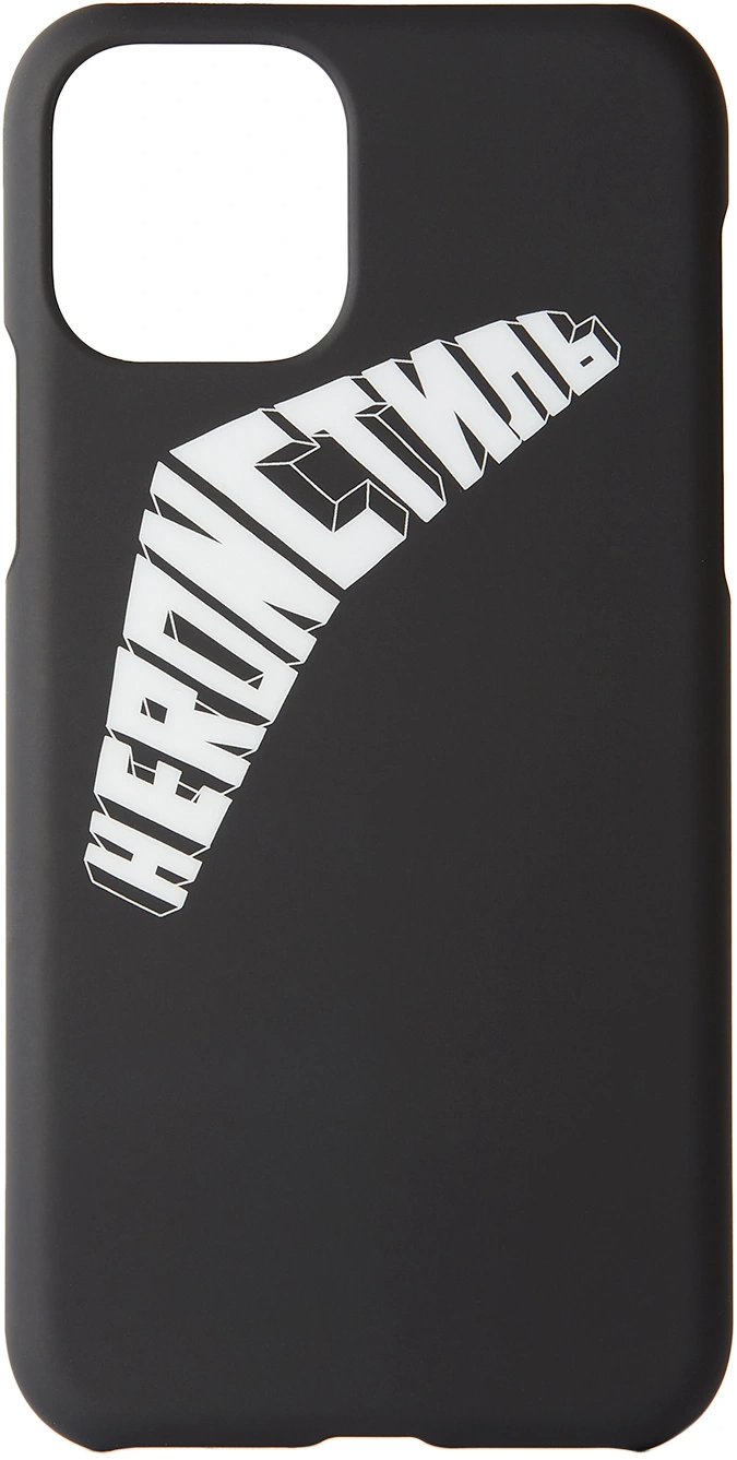 """Since he probably still clips his phone to his belt loops, at least make it a little more visually appealing with this case. <br><br><strong>HERON PRESTON</strong> Black & White Logo iPhone Case, $, available at <a href=""""https://go.skimresources.com/?id=30283X879131&url=https%3A%2F%2Fwww.ssense.com%2Fen-us%2Feverything-else%2Fproduct%2Fheron-preston%2Fblack-and-white-logo-iphone-11-pro-case%2F4905011"""" rel=""""nofollow noopener"""" target=""""_blank"""" data-ylk=""""slk:SSENSE"""" class=""""link rapid-noclick-resp"""">SSENSE</a>"""