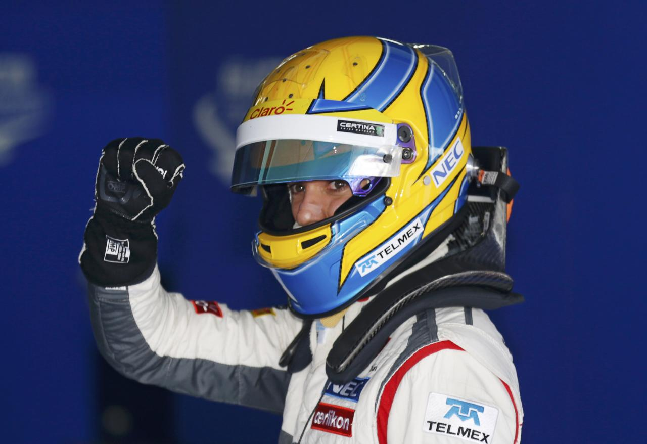 Sauber Formula One driver Esteban Gutierrez of Mexico reacts after the qualifying session for the Korean F1 Grand Prix at the Korea International Circuit in Yeongam, October 5, 2013. REUTERS/Lee Jae-Won (SOUTH KOREA - Tags: SPORT MOTORSPORT F1)