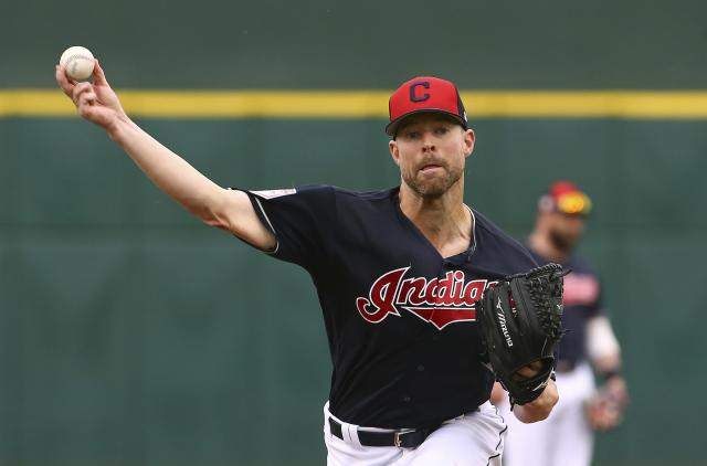 "<a class=""link rapid-noclick-resp"" href=""/mlb/players/9048/"" data-ylk=""slk:Corey Kluber"">Corey Kluber</a> has a new home. (AP Photo/Ross D. Franklin)"