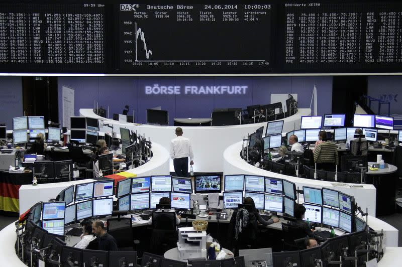 The curve of the German share price index DAX board at the Frankfurt stock exchange