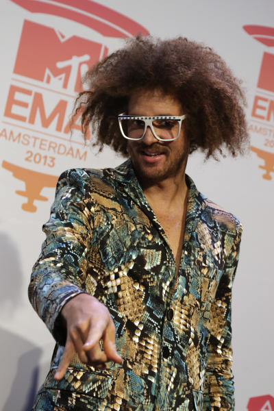 Musician Redfoo poses for photographers at the press conference for the European MTV Awards 2013 in Amsterdam, Saturday, Nov. 9, 2013. (AP Photo/Peter Dejong)