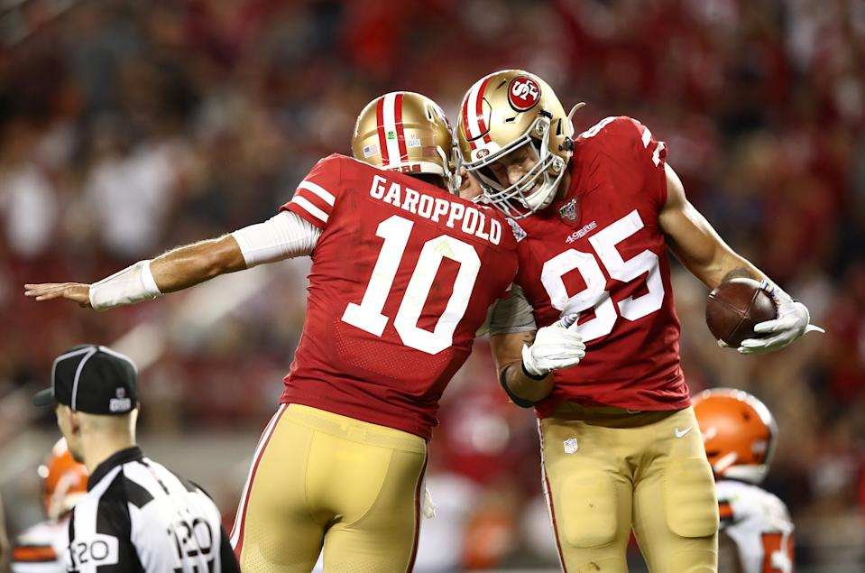 George Kittle and Jimmy Garoppolo celebrate a touchdown against the Browns. (Getty Images)