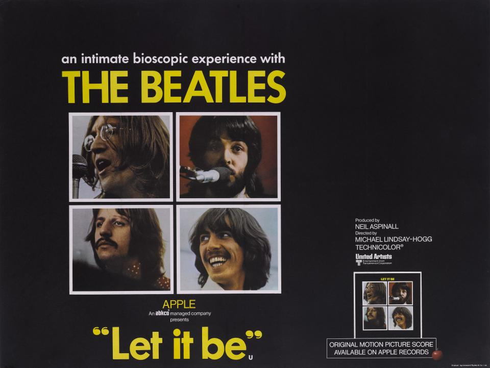 A poster for the Apple Corps movie 'Let It Be', featuring The Beatles, 1970.  (Photo by Movie Poster Image Art/Getty Images)