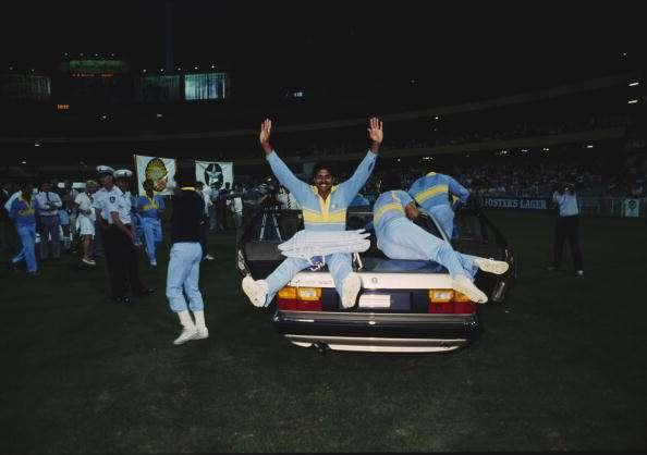 Members of the Indian cricket team celebrate their victory over Pakistan in the final of the World Championship of Cricket One Day International tournament, Melbourne, Australia 10th March 1985. India won the match by 8 wickets. (Photo by Adrian Murrell/Getty Images)