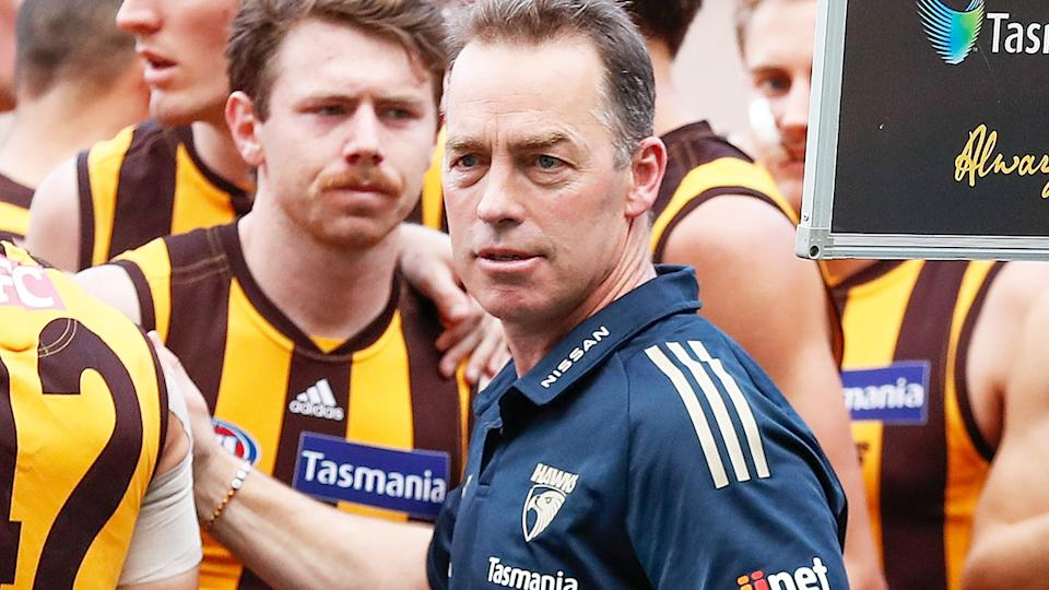 Alastair Clarkson, pictured here after his final address to Hawthorn players at three-quarter time against Richmond.