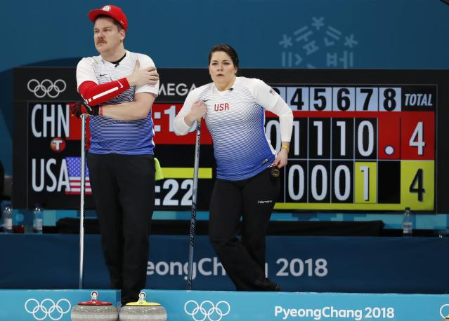 Matt and Becca Hamilton were eliminated from medal contention on Saturday. (Associated Press)
