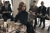"""<p>The Netflix mini-series based on the <a href=""""https://www.amazon.com/Queens-Gambit-Novel-Walter-Tevis/dp/1400030609"""" rel=""""nofollow noopener"""" target=""""_blank"""" data-ylk=""""slk:eponymous novel"""" class=""""link rapid-noclick-resp"""">eponymous novel</a> by Walter Tevis debuts on October 23 and stars Anya Taylor-Joy of the 2020 adaptation of <em>Emma</em>. We're intrigued by this coming-of-age story of an orphan-turned-chess-prodigy who just may have given Bobby Fisher a run for his money.</p>"""