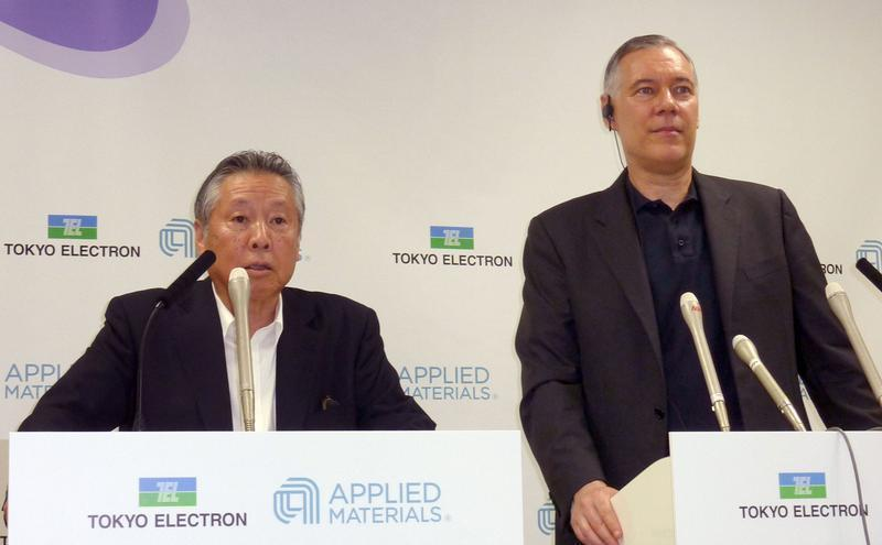 Tokyo Electron Ltd Chairman and President Higashi and Applied Materials Inc CEO Dickerson during attend their joint news conference in Tokyo