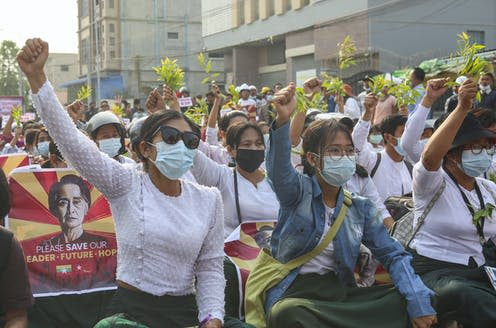 "<span class=""caption"">Protests against the coup in Myanmar, an example of 'democratic backsliding' that is growing more prevelent worldwide.</span> <span class=""attribution""><span class=""source"">STR/EPA-EFE</span></span>"