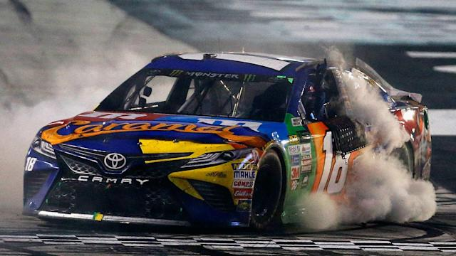 Kyle Busch passed Chase Elliott with two laps remaining to earn his second straight win on Sunday.