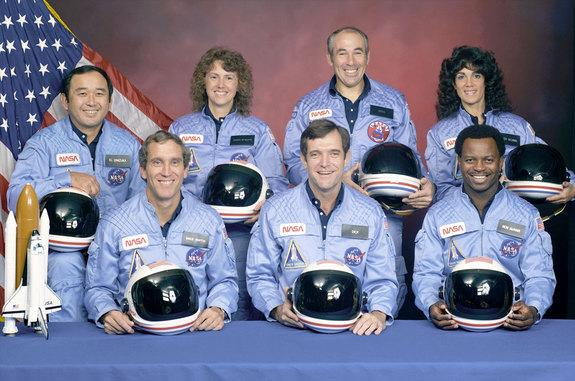 The space shuttle Challenger STS-51L crew. In back, from left to right: Ellison S. Onizuka, Sharon Christa McAuliffe, Greg Jarvis, and Judy Resnik. In front, from left to right: Michael J. Smith, Dick Scobee, and Ron McNair.