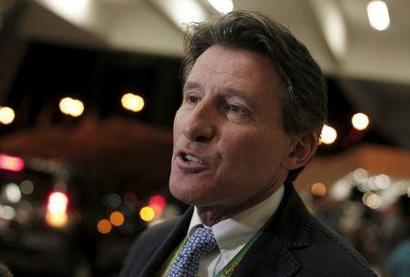 British politician and former athlete Sebastian Coe, speaks to the media after attending the North, Central America and Caribbean Senior Championships inauguration at the National stadium in San Jose, Costa Rica August 6, 2015. REUTERS/Juan Carlos Ulate
