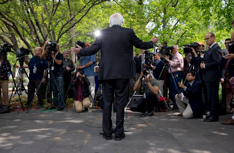 Sen. Bernie Sanders speaks to the media about his agenda for his presidential run on April 30, 2015, on Capitol Hill in Washington, D.C.