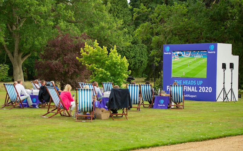 The FA Cup final was screened on the lawn at Sandringham House (PA)