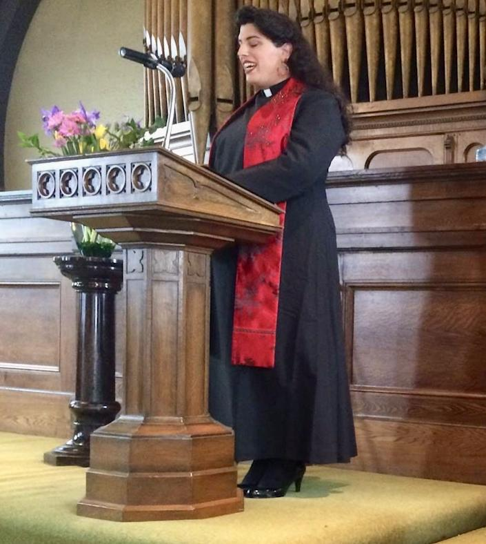 """Elena Rose Vera, executive director of Trans Lifeline, at her ordination ceremony in 2016 at the Church for the Fellowship of All Peoples in San Francisco. <span class=""""copyright"""">(Elena Rose Vera)</span>"""