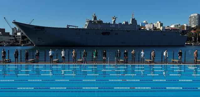 "<p>Australia's naval ship HMAS Canberra forms a backdrop as Sydney's Andrew ""Boy"" Charlton swimming pool hosts a men's fashion show for the Katama label by American designer Garrett Neff during Fashion Week Australia Sydney in Sydney, Australia, May 16, 2017. (Photo: Jason Reed/Reuters) </p>"