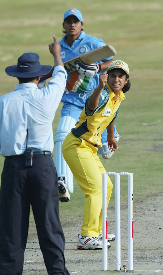 PRETORIA, SOUTH AFRICA - APRIL 10: (TOUCHLINE IMAGES ARE AVAILABLE TO CLIENTS IN THE UK, USA AND AUSTRALIA ONLY)  Lisa Sthalekar of Australia appeals successfully for a wicket during the IWCC Women's World Cup Final match between India and Australia at Supersport Park Stadium on April 10, 2005 in Pretoria, South Africa. (Photo by Touchline/Getty Images)