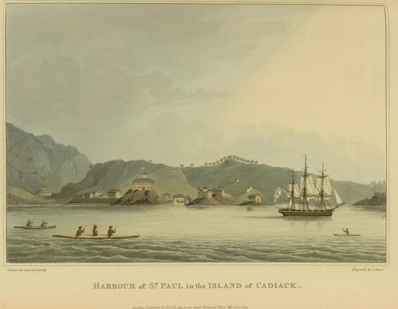 A print showing the frigate Neva, which wrecked near Kruzof Island, Alaska, in 1813.