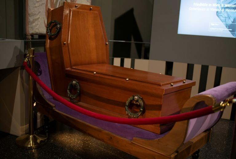 A coffin designed for upright sitting is seen on display at the Funeral Museum in Vienna