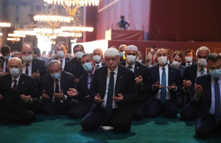Turkish President Tayyip Erdogan led thousands in Friday prayers at Hagia Sophia