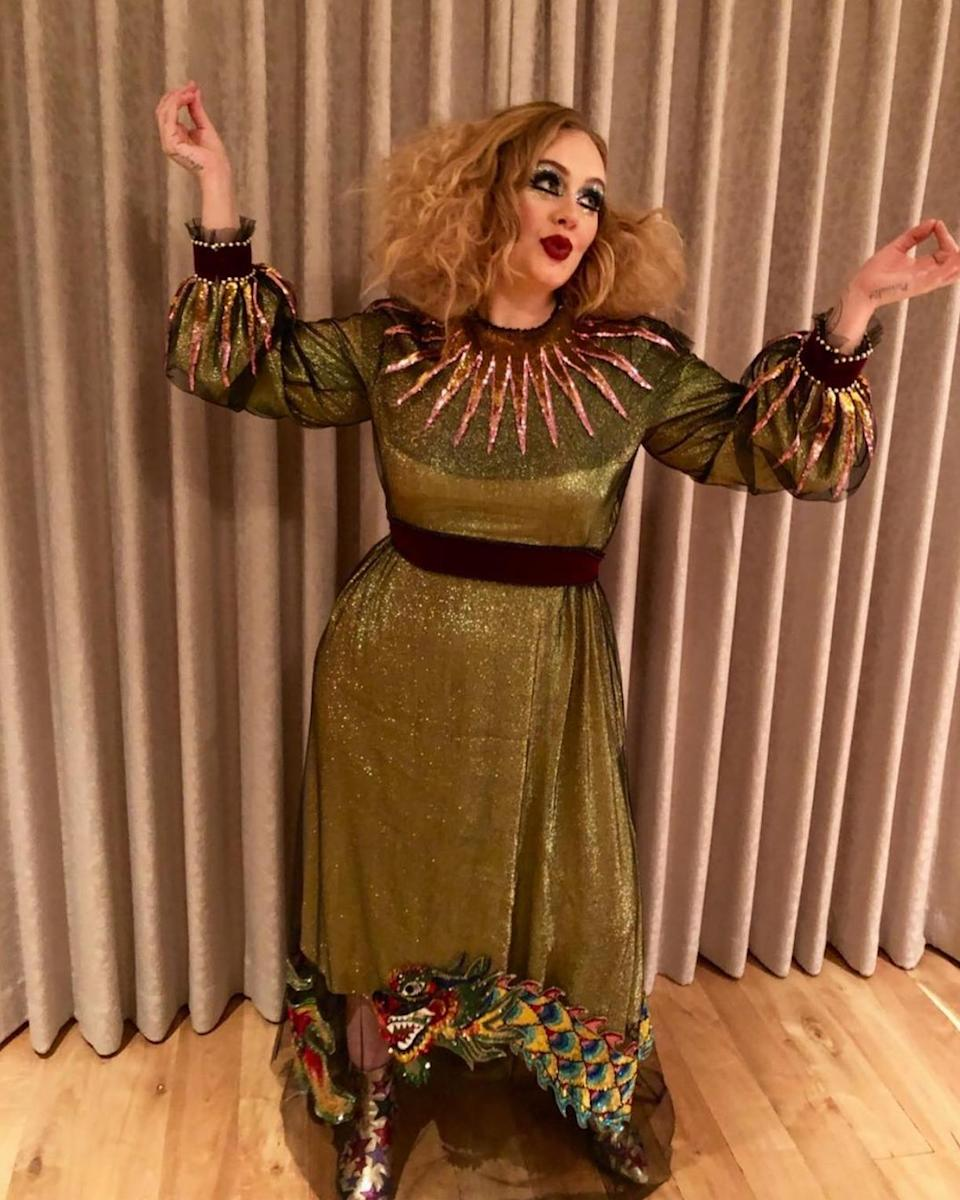 <p>After months of staying out of the spotlight, Adele triumphantly returned to Instagram showing fans her fun Halloween costume, with some fab hair and makeup. The singer had to cut her tour short due to damaged vocal cords, so hopefully singing isn't part of her costume. (Photo: Instagram/Adele) </p>