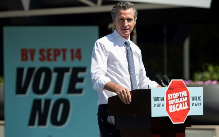 Opponents have blamed Newsom for the severity of the fires, but scientists say the warming climate and the extended drought is at the root of the devastation (AFP/SAUL LOEB)