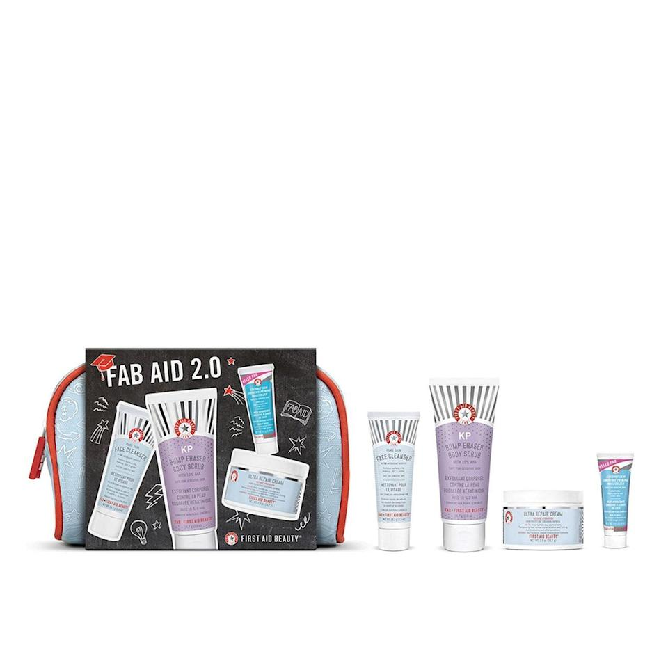 """<p>A starter pack like First Aid Beauty's FAB Aid 2.0 makes for the perfect transition from adolescent to adult skin care. The four-piece set solves for just about every head-to-toe dry skin woe, including pesky <a href=""""https://www.allure.com/gallery/best-keratosis-pilaris-treatments-skin-care-products?mbid=synd_yahoo_rss"""" rel=""""nofollow noopener"""" target=""""_blank"""" data-ylk=""""slk:keratosis pilaris"""" class=""""link rapid-noclick-resp"""">keratosis pilaris</a> (KP). For daily use, there's the gentle Pure Skin Face Cleanser, which has soothing <a href=""""https://www.allure.com/story/what-is-allantoin-skin-care-ingredient-korean-beauty?mbid=synd_yahoo_rss"""" rel=""""nofollow noopener"""" target=""""_blank"""" data-ylk=""""slk:allantoin"""" class=""""link rapid-noclick-resp"""">allantoin</a> and moisturizing glycerin. Follow it up with the Best of Beauty-winning Hello FAB Coconut Skin Smoothie Priming Moisturizer, which is ideal for daytime hydration, thanks to refreshing coconut water. At night, the Ultra Repair Cream will give skin an intensive moisture boost <a href=""""https://www.allure.com/gallery/best-night-cream?mbid=synd_yahoo_rss"""" rel=""""nofollow noopener"""" target=""""_blank"""" data-ylk=""""slk:while they sleep"""" class=""""link rapid-noclick-resp"""">while they sleep</a>. </p> <p>And as mentioned, when those tiny dry bumps form around elbows, soothe them away with the <a href=""""https://www.allure.com/gallery/what-you-didnt-know-about-lactic-salicylic-citric-glycolic-acid-creams?mbid=synd_yahoo_rss"""" rel=""""nofollow noopener"""" target=""""_blank"""" data-ylk=""""slk:alpha hydroxy acid"""" class=""""link rapid-noclick-resp"""">alpha hydroxy acid</a>-laced KP Bump Eraser Body Scrub with 10% AHA. All of the products are travel size, so the recipient can try before committing to a full-size tube or jar. </p>"""