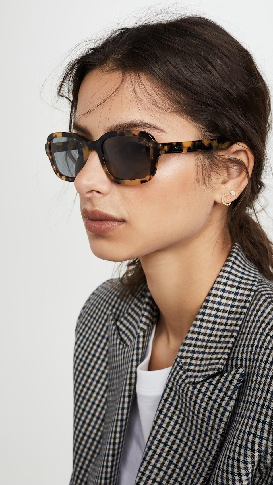 <p>These <span>Prada Rectangular Sunglasses</span> ($350) have been on our wishlist for a while now. They're the perfect mix of retro and classic, and we love them so much.</p>