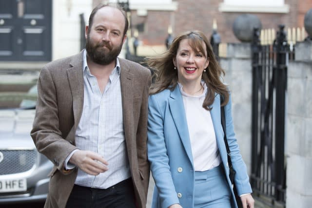 Ex-PM Theresa May's chiefs of staff Nick Timothy and Fiona Hill (Rick Findler/PA)