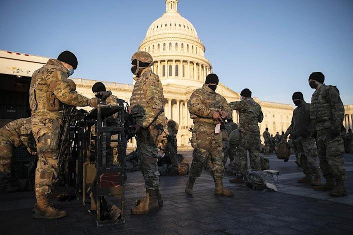 "<p>The National Guard has planned to have up to 15,000 troops deployed to meet current and future requests for the inauguration, Gen. Daniel Hokanson, chief of the National Guard Bureau, <a href=""https://www.cnn.com/2021/01/13/politics/pentagon-national-guard-armed/index.html"" rel=""nofollow noopener"" target=""_blank"" data-ylk=""slk:told CNN"" class=""link rapid-noclick-resp"">told CNN</a>.</p>"