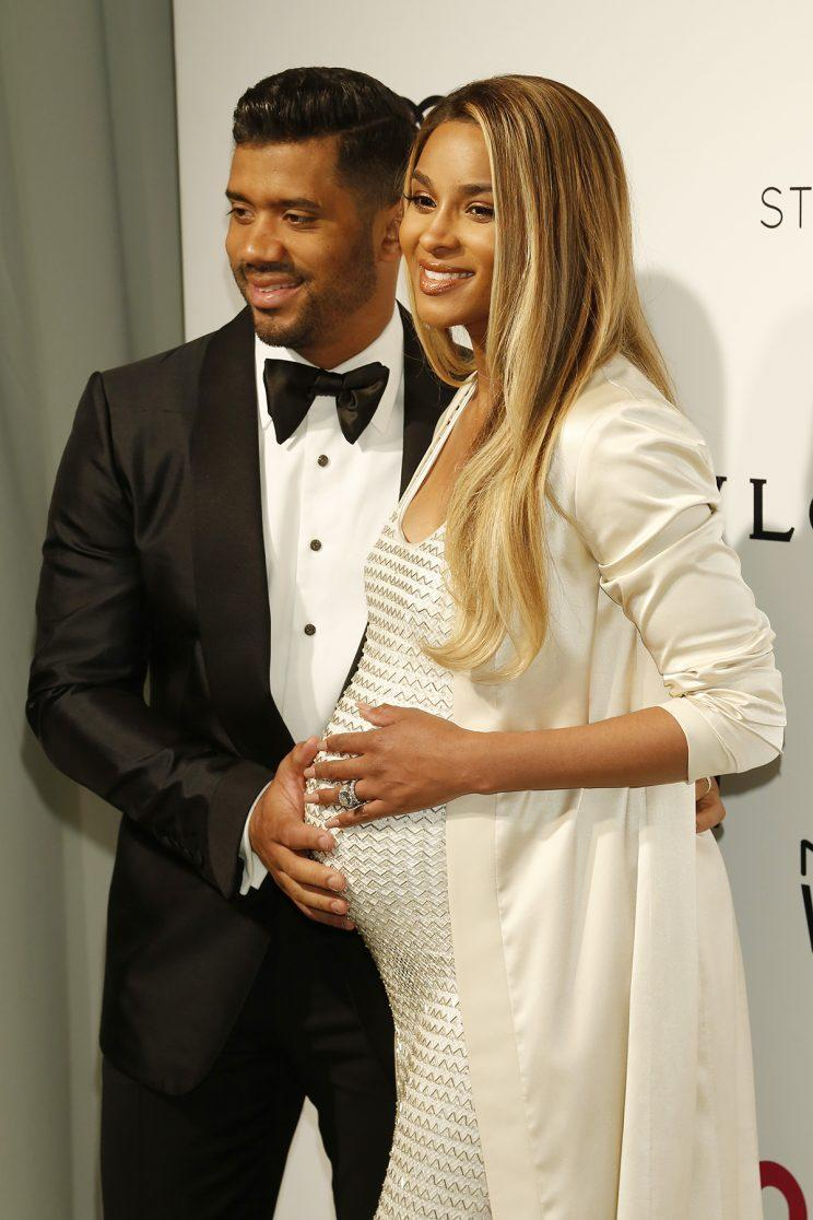 WEST HOLLYWOOD, CA - FEBRUARY 27: Ciara, Russell Wilson at the 25th Annual Elton John AIDS Foundation's Oscar viewing party held at The City of West Hollywood Park on February 26, 2017 in West Hollywood, California. (Photo: John Rasimus/Barcroft Images/Getty Images)