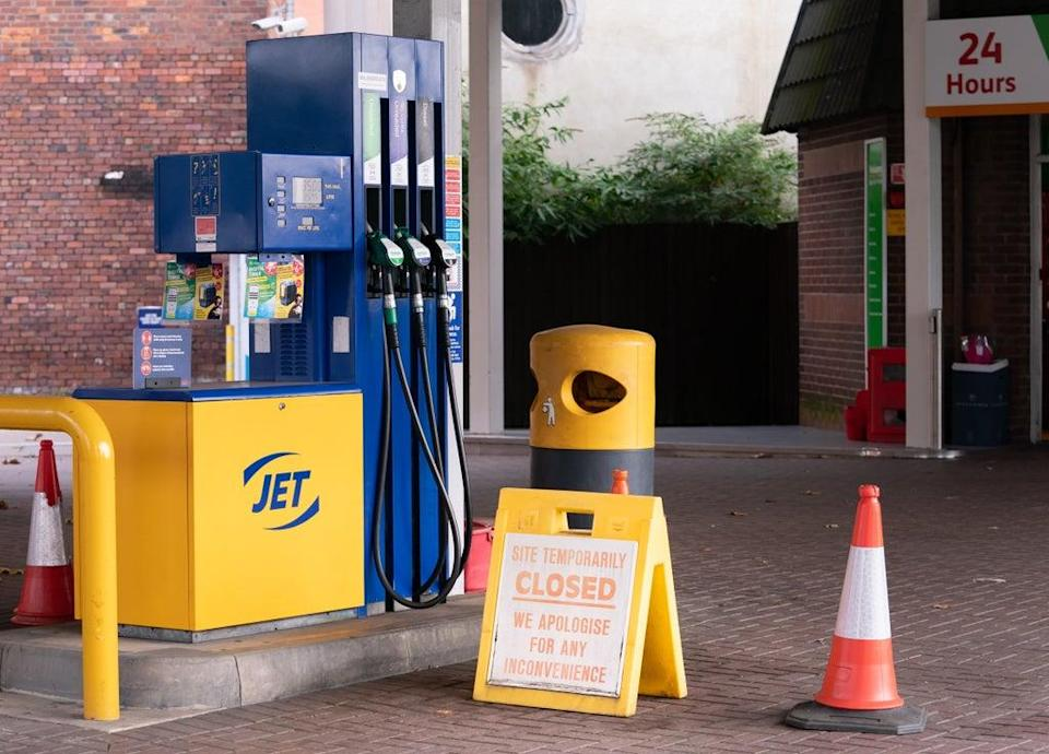 A closed sign on the forecourt of a petrol station in Leeds (Danny Lawson/PA) (PA Wire)