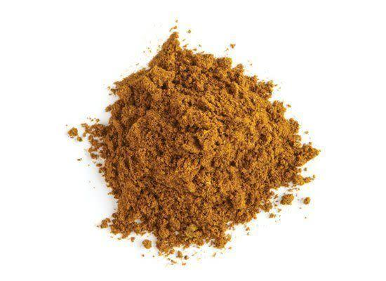 """<em>guh-rahm muh-sa-luh</em> A spice mixture whose name translates to """"hot mixture"""" that typically includes cardamom, cinnamon, cloves, coriander, cumin, nutmeg, mace, black pepper and star anise. <strong>How to use:</strong> Use as a rub for meats, in marinades and in curries. <strong>Origin:</strong> India, Pakistan and Bangladesh. <strong>Recipe:</strong> <a href=""""http://www.huffingtonpost.com/2011/10/27/quick-chicken-tikka-masal_n_1062275.html"""" rel=""""nofollow noopener"""" target=""""_blank"""" data-ylk=""""slk:Chicken Tikka Masala"""" class=""""link rapid-noclick-resp"""">Chicken Tikka Masala</a> <strong><a href=""""http://www.deandeluca.com/herbs-and-spices/herbs-spices/garam-masala.aspx"""" rel=""""nofollow noopener"""" target=""""_blank"""" data-ylk=""""slk:Garam Masala"""" class=""""link rapid-noclick-resp"""">Garam Masala</a> at DeanandDeluca.com, $4.50</strong>"""