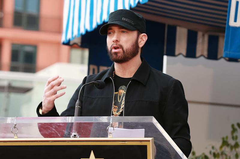 Eminem speaks during a ceremony honoring 50 Cent with a star on the Hollywood Walk of Fame on January 30, 2020 in Hollywood, California.