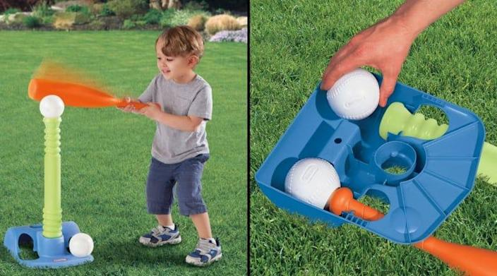 Spring sports may not be in session, but your toddler can still practice their swing with this t-ball set.