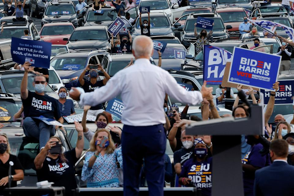 Democratic U.S. presidential nominee and former Vice President Joe Biden attends a campaign stop in Atlanta, Georgia, U.S. October 27, 2020.  REUTERS/Brian Snyder     TPX IMAGES OF THE DAY
